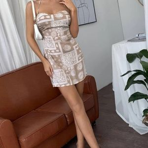Halter Neck Backless Scarf Print Mini Dress 👗